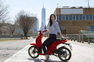Sitting on the Jetson Lithium Ion Powered Eco-Friendly Electric Bike