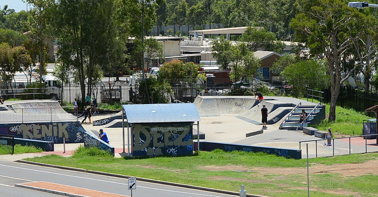 Mini skatepark with kids