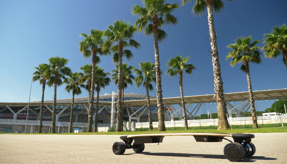 Electric skateboard under the sun