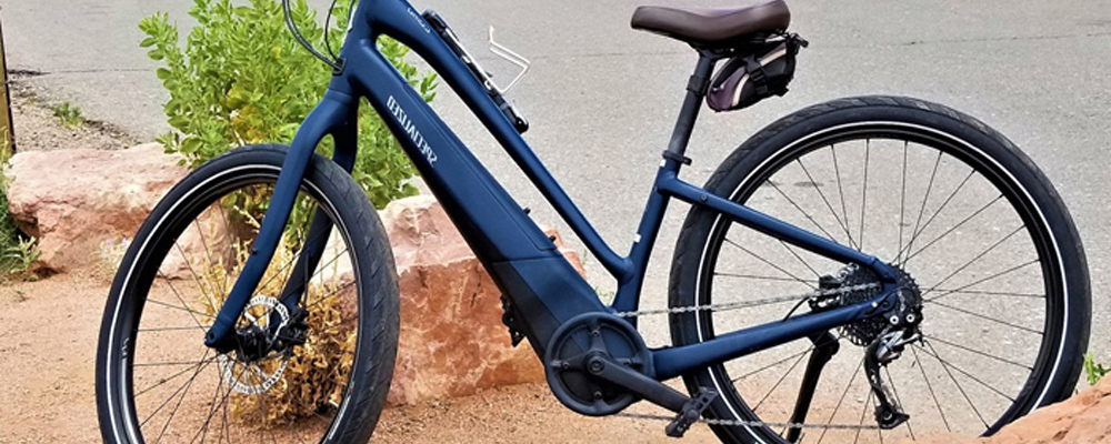 Blue electric bicycle along the road