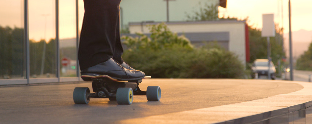 Riding on electric skateboard