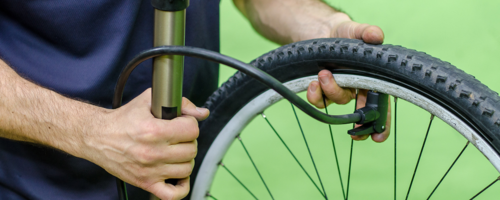 Inflating bike wheel